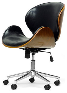 Bruce Office Chair Walnut And Black Midcentury Office Chairs By Baxton