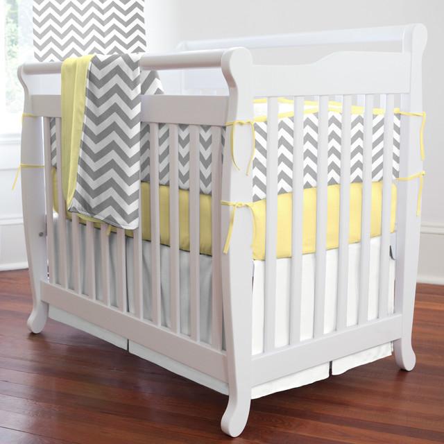 gray and yellow zig zag mini crib bedding modern baby bedding atlanta by carousel designs