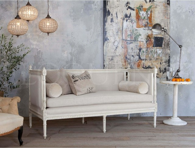 eloquence swedish settee in antique white traditional
