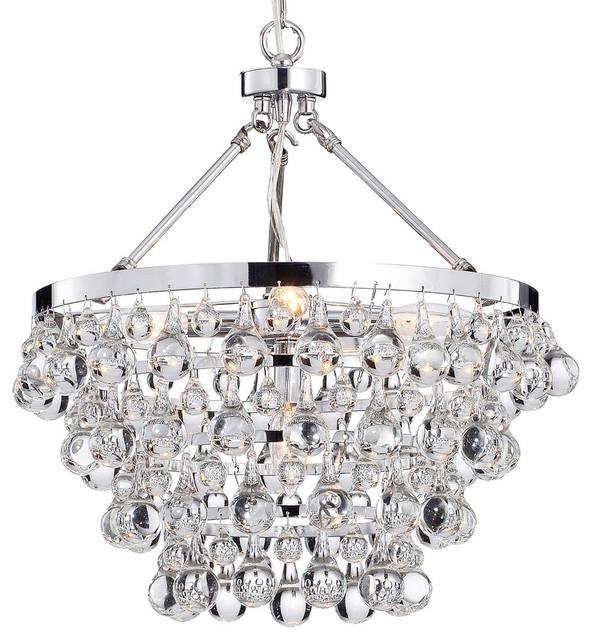 Crystal Glass Five Light Luxury Chandelier Chrome