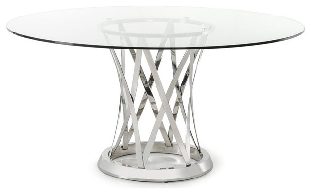 Gallo Modern Round Glass Dining Table Contemporary Dining Tables