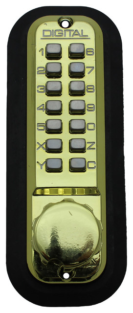 Digital Door Lock Narrow Stile Latch With Double Combination, Bright Brass - Contemporary - Door ...