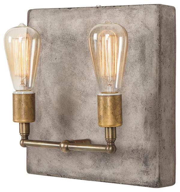 Wall Sconces Edison : Crowe Industrial Loft Edison Bulb 2 Light Aged Brass Wall Sconce - Industrial - Wall Sconces ...