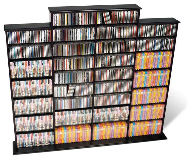 Prepac Quad Width CD DVD Media Storage Wall Unit in Black - Modern - Media Racks And Towers ...