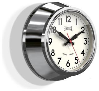 small electric wall clock chrome 8 contemporary