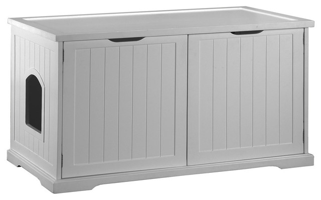 Cat Washroom Bench, White - Contemporary - Cat Furniture - by Merry Products