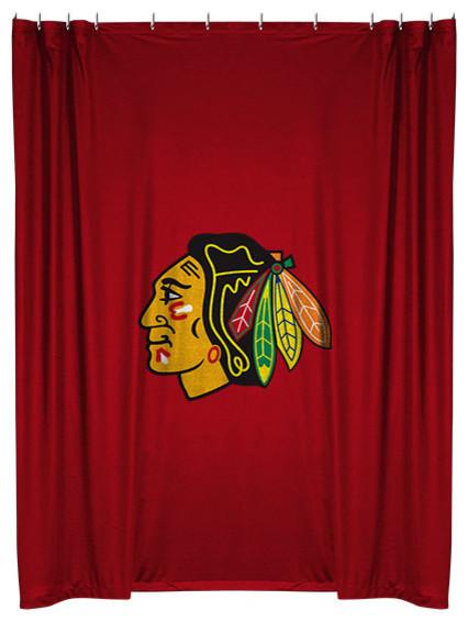 Team Curtains Teamcurtainscom: NHL Sports Team Shower Curtain, Blackhawks