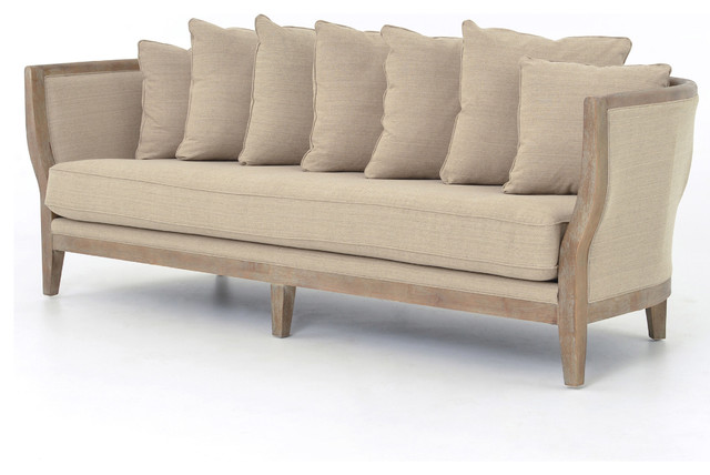 Harcourt french country solid oak white wash sofa traditional sofas by kathy kuo home - French country sectional sofas ...