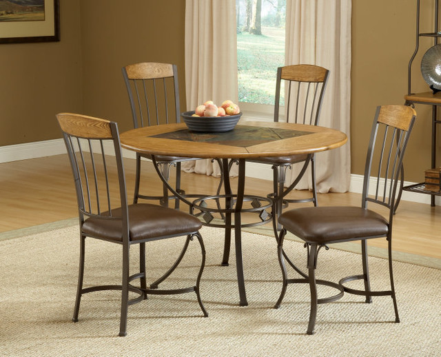 Hillsdale lakeview 5 piece round dining room set w wood for All wood dining room sets