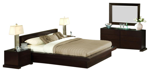 Zurich 4 pc bedroom set queen contemporary bedroom for Bedroom furniture zurich