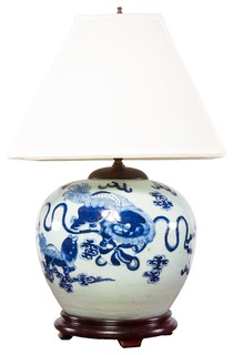 chinese blue white porcelain lamp w wood base and shade asian. Black Bedroom Furniture Sets. Home Design Ideas