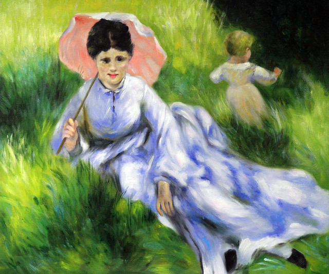 Renoir Quot Woman With A Parasol And A Small Child On A Sunlit