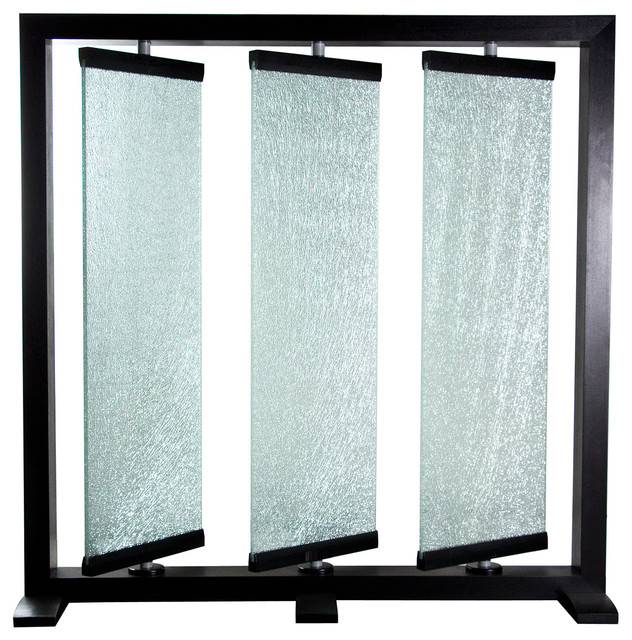 Triple Panel Crackled Glass Room Partition by Diamond Sofa - Contemporary - Screens And Room ...