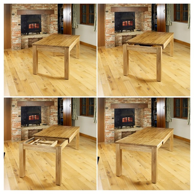Superb oak hidden extending dining table Seats four to  : contemporary dining tables from houzz.co.uk size 640 x 640 jpeg 121kB