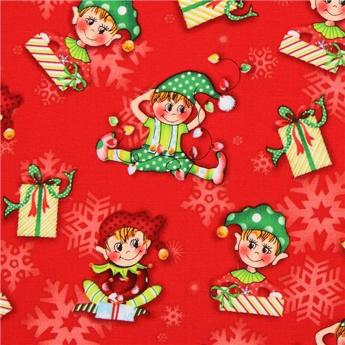 red Christmas elf Christmas fabric Naughty Or Nice - Fabric