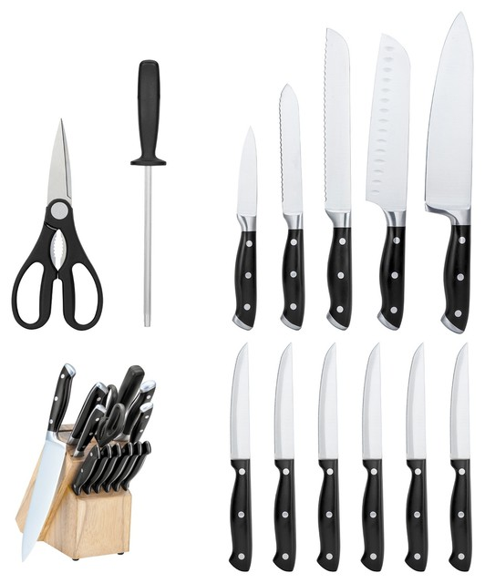 14 piece forged cutlery set with wood block contemporary for Alpine cuisine flatware