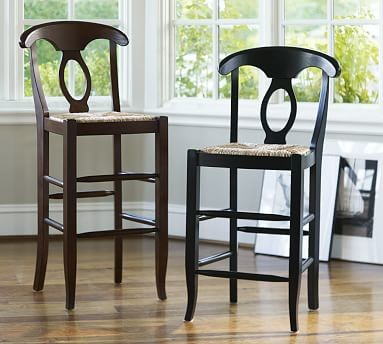 Napoleon R Rush Seat Barstool Bar Height Black