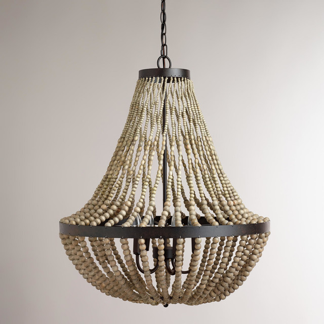 Large wood bead chandelier contemporary chandeliers for Wood pendant chandelier