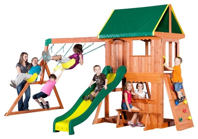 backyard discovery somerset wood swing set 65012 contemporary swings
