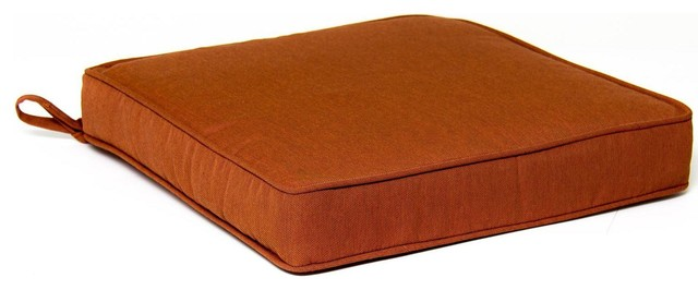 Extra Large Replacement Seat Cushion With Piping Canvas Paprika Modern