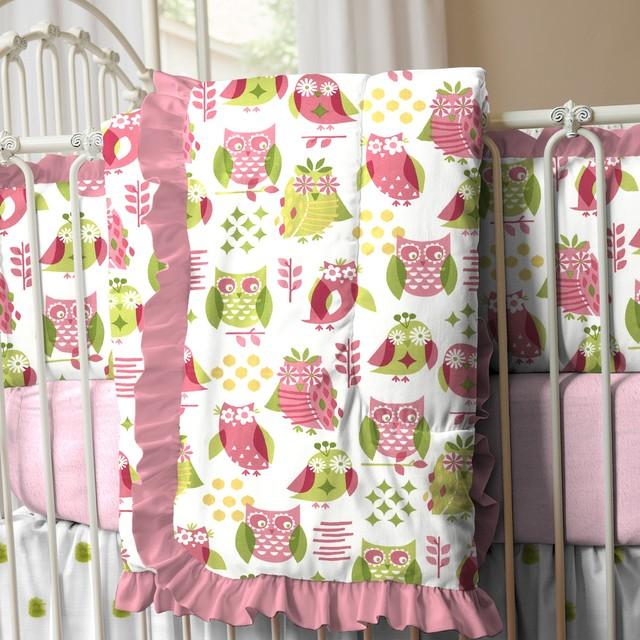 Girly Owl Crib Comforter With Ruffle Traditional Baby