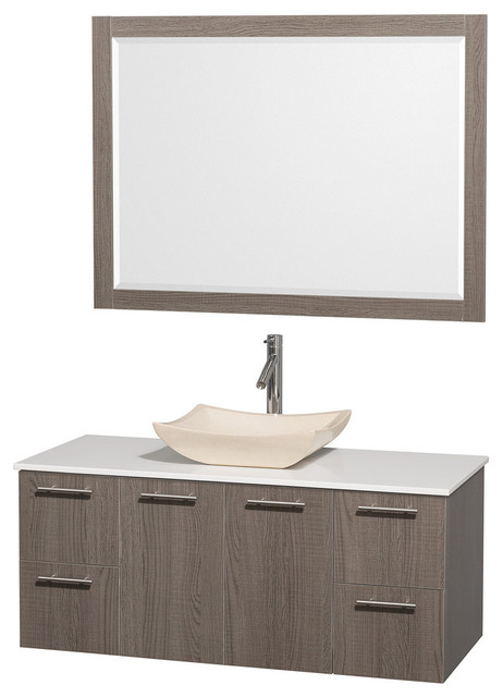 48 Single Bathroom Vanity White Man Made Stone Top Sink And 24 Mirror Contemporary