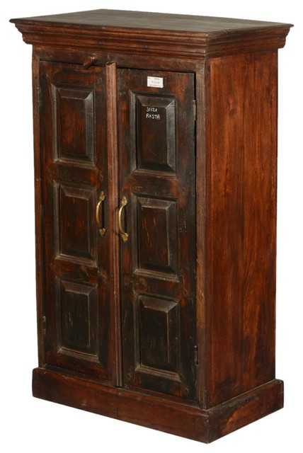 "Shaker Rustic Reclaimed Wood Double Door 43"" Tall Cabinet - Rustic - Accent Chests And Cabinets ..."