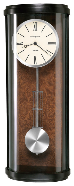 Howard miller contemporary black satin dual chime pendulum wall clock cortez contemporary - Contemporary wall clocks with pendulum ...