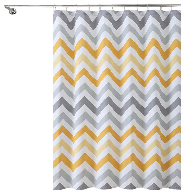 Corso White Chevron 100 Cotton Fabric Shower Curtain Contemporary Shower Curtains By