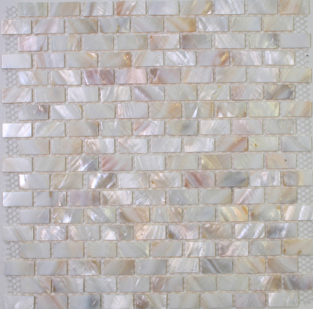 White Mother Of Pearl Tiles Mop Shell Tiles In Brick Design Modern Tile Hong Kong By Dintin