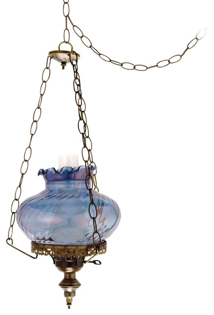 Blue Amber Swirl Student 13 Wide Plug In Swag Chandelier