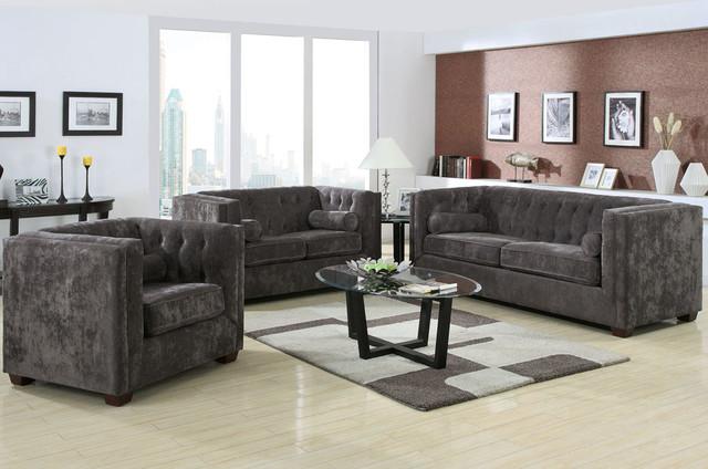 Alexis 3 Pcs Charcoal Microvelvet Sofa Set Modern Living Room Furniture Sets