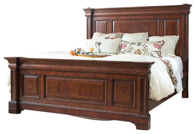 Heritage Mahogany King Size Mansion Bed Traditional Panel Beds