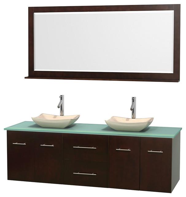 72 double bathroom vanity in espresso green glass countertop sinks mirror contemporary for Glass bathroom sinks countertops