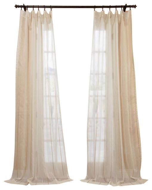 Essex natural linen blend stripe sheer curtain for Linen sheer window panels