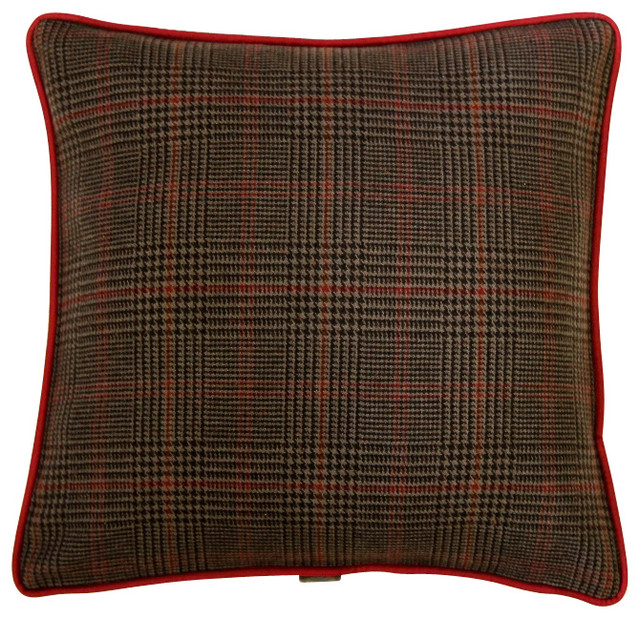 Decorative Plaid Pillows : Sartorial Home Pillow: Brown Plaid & Brown Velvet - Traditional - Decorative Pillows - by ...