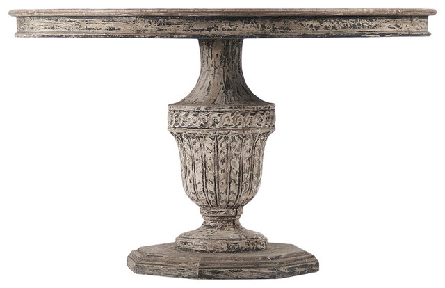 Theresa French Antique Style Carved Reclaimed Elm Wood