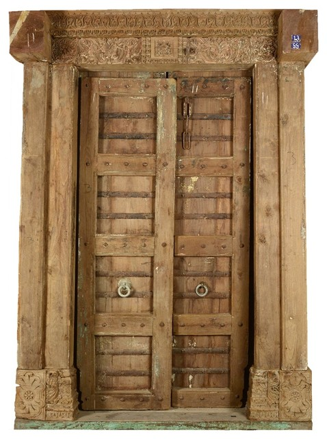 Beautifully preserved hand carved historic indian door for Traditional main door design