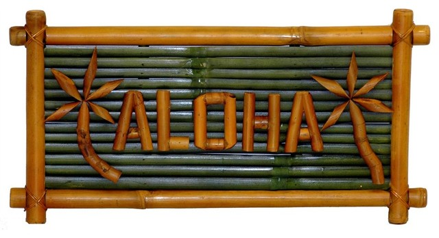 Small Bamboo Aloha Sign with Palm Tree Designs - Contemporary - Game Room Wall Art And Signs ...