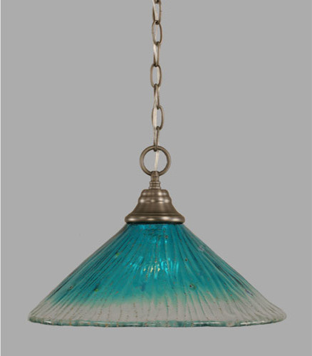 Brushed Nickel e Light Pendant with Teal Crystal Glass