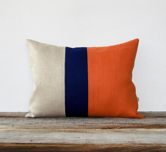 Orange Spice Color-block Pillow by Jillian Rene Decor - Modern - Decorative Pillows - by Etsy