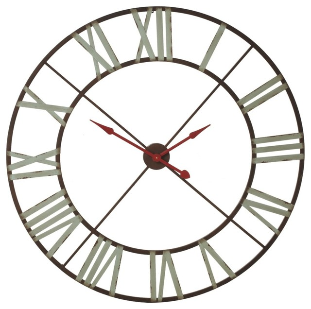 Extra Large Wall Clock With Aqua Numerals And Red Hands