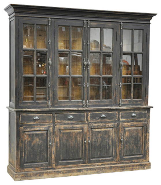 Black Distressed Display Cabinet - Rustic - China Cabinets And Hutches - by Design Mix Furniture