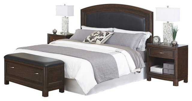 crescent hill king leather upholstered bed 2 nightstands