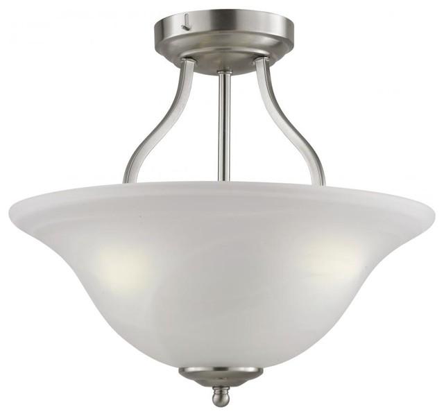 Five Light Marbleized Glass Antique Bronze Bowl Semi Flush