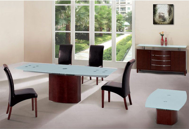 Extendable Wood And Frosted Glass Top Leather Modern