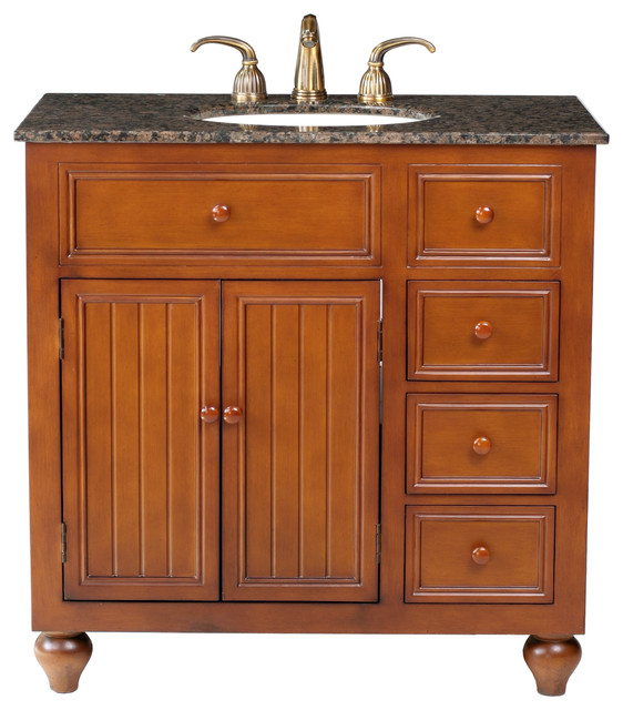 36 Mary Single Sink Vanity With Baltic Brown Granite Top Traditional Bathroom Vanities And