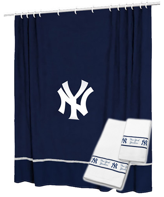 New york yankees shower curtain bath towel set baseball for Yankees bathroom decor