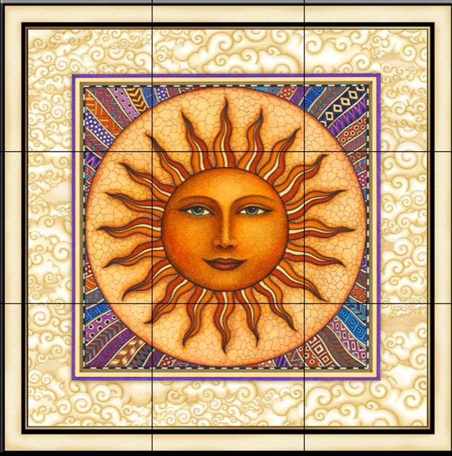 tile mural celestial sun with frame kitchen backsplash. Black Bedroom Furniture Sets. Home Design Ideas