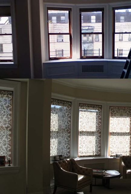 Before And After Bay Windows With Interior Mounted Custom Solar Shades